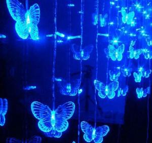 متعدد الألوان 120 LED سلسلة قطاع عطلة عيد الميلاد ضوء أكاليل 4M 20 فراشة الستار أضواء الاتحاد الأوروبي الولايات المتحدة المملكة المتحدة الاتحاد الافريقي التوصيل PARTY مصباح الزفاف
