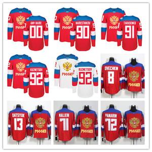 팀 러시아 하키 8 Alex Ovechkin 72 Artemi Panarin 91 Vladimir Tarasenko 71 Evgeni Malkin 13 파벨 Datsyuk 2016 Jerseys Red 월드컵