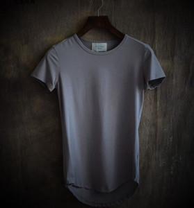 2017 verão nova cor pura moda masculina cultivar irregular curvo bainha gola redonda de manga curta T-shirt Masculino Arc Tops de fundo