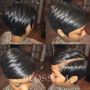 Nuove parrucche brasiliane per capelli parrucche anteriori in pizzo capelli corti umani 100 parrucche corte glueless per capelli tagliati umani naturali per donne nere
