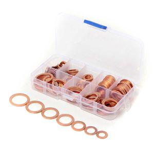 120 UNIDS 8 Tamaños Cobre Sólido Arandelas Sump Plug Surtido Lavadora Set Caja de Plástico Profesional Accesorios de Hardware