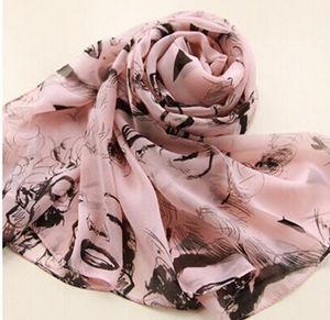 2017 ventas calientes de la manera Marilyn Monroe estilo Vintage del todo fósforo de las señoras de la bufanda bufanda de la gasa Chal mezcla de color 10 unids