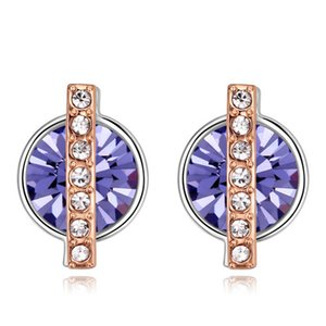 High Quality Unique Designer Noble Import Austrian Crystal Real Gold Fashion Jewelry Accessories Geometric circle Stud Earrings For Women