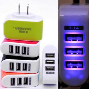 US EU Plug 3 USB chargeur mural 5V 3.1A LED adaptateur Voyage pratique adaptateur secteur avec triple ports USB pour téléphone mobile avec paquet de vente au détail
