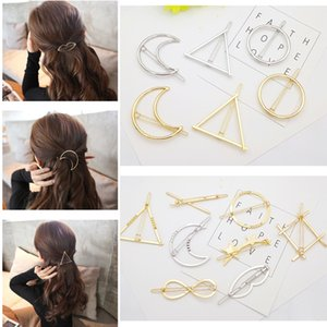 Hollow Geometric Metal Hairpin - Minimalista Dainty Gold Silver Circle Triangolo Moon Clip di capelli Morsetto Bobby Pin Ponytail Holder