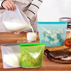 Riutilizzabile sottovuoto alimentare Sacchetti per alimenti in silicone Contenitore per alimenti in frigorifero Sacchetto per alimenti in cucina Sacchetti colorati a chiusura lampo Contenitore per alimenti freschi