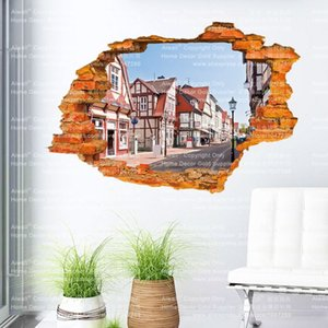 Árbol forrado Trail 3D Sticker Tree Building Horse etiqueta de la pared 60 * 90 CM Paisaje Decoraciones de la pared Decoración para el hogar