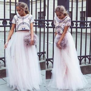베이비 라이트 핑크 Tulle 탄성 높은 품질 허리 맥시 바닥 길이 A 라인 좋은 품질의 발레리나 스커트 세련된 아름다운 여성 스커트