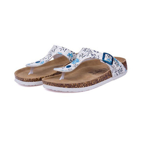 New Beach Cork Flip Flops Slipper 2017 Casual Summer Women Mixed Color Print Slip on Slides Sandals Flat Shoe