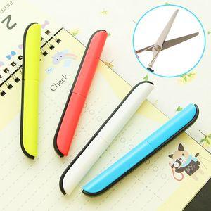 안전 귀여운 펜 모양 Foldable 가위 휴대용 오른쪽 왼손 Scisors 커터 나이프 학교에 대한 Sudent 사무실 사용 선물 아이디어
