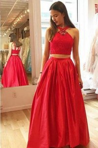 Halter Glamorous Crystal A-Line Two-Pieces Vestidos de fiesta rojos 2018 Halter Neck Vestidos para ocasiones especiales Sexy Pageant Wear Custom