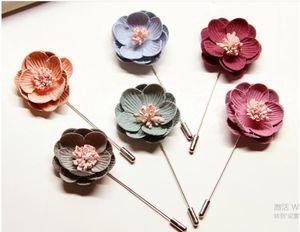 Blumen Broschen Pins Stoff Blumen lange Nadel Korsagen Brosche für Hochzeit Party Geburtstag Geschenke sechs Farben können wählen