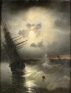 Enmarcado 100% pintado a mano Art Seascape barco de vela con olas del mar en la vista del atardecer Decoración Pintura al óleo sobre lienzo Tamaños múltiples r23