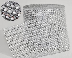 """10yard / roll 4.75"""" 24 Filas hechos por el hombre Diamond Mesh yardas envuelven la cinta cristalina del Rhinestone del ajuste Wrap brillo bling de la decoración de la boda de la cinta"""