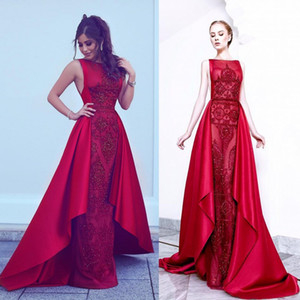Elie Saab Red Mermaid Long Dresses Evening Wear With Detachable Train Luxury Beads Sequined Crystal Prom Gowns
