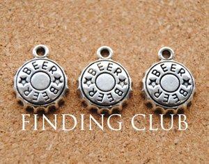 Spedizione all'ingrosso-gratuita! 30 pezzi d'argento antico lega di birra tappo di bottiglia di charms in forma artigianale 19x18mm A887