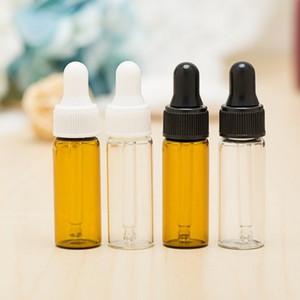 5ML 미니 앰버 유리 에센셜 오일 Dropper 병 다시 채울 수있는 4 가지 색상