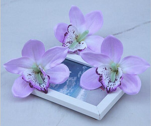 Simülasyon Orkide Cymbidium Çiçek Başları DIY Takı Aksesuarları Düğün Yeni Yıl Ev Saç Dekoratif Çiçekler G2