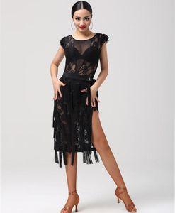 2017 Nouvelle danse latine dentelle T-shirt + bandage jupe costume femmes sexy Sasa salle de bal Tango Rumba Samba perspective concours de costume de gland