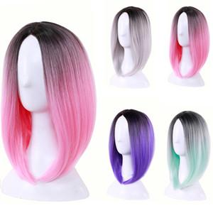 Многоцветный женщины средний короткий прямой синтетический окрашенный парик ежедневно дамы градиент Бобо термостойкие косплей парики Ombre цвет волос шапки