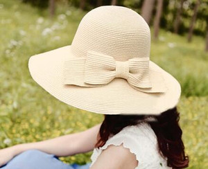 3 Color Straw Sun Hat with Bowtie Women Floppy Wide Brim Church Hats Sun Visor Summer Beach Bucket Hat Korean Style Halloween Gift