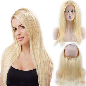 Pure Color Blonde 613 Soyeux Vierge Droite Vierge de Cheveux Humains Pré Plumée 360 Dentelle Frontale Avec Des Cheveux De Bébé 22.5 * 4 * 2