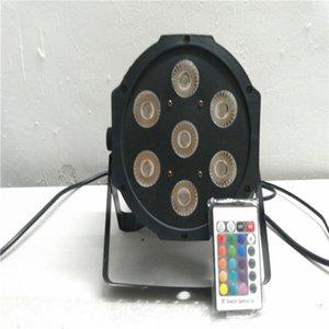 Envío libre y DMX de control remoto Inmámbrico dmx 평면 파 7x12 W RGBW 4IN1 led lámpara