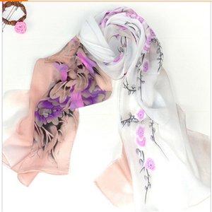 도매 -160 * 50cm 무료 배송 새로운 2015 긴 한국어 패션 플라워 프린트 쉬폰 스카프 여성 겨울 스카프 shawls 포장