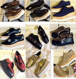spedizione gratuita Stella Mccartney piattaforma donna scarpe stelle scarpe in vera pelle nera con stelle nere e nero suola alta