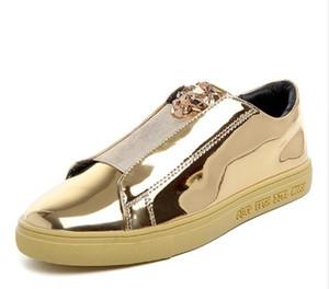 Novo design de moda casal superstar brilhante placa de couro de patente sapatos de alta qualidade pu uppers cabeça de leopardo de metal sapatos casuais homens