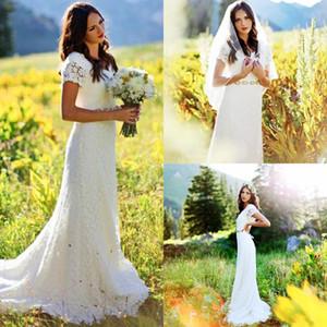 Vintage da sposa in pizzo pieno sirena abiti da sposa con scollo a V maniche corte in rilievo sash su ordinazione modest abiti da sposa 2017