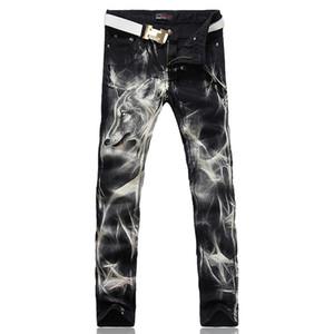 Wholesale-Men's fashion wolf print stretch denim jeans Slim black painted straight pants Long trousers
