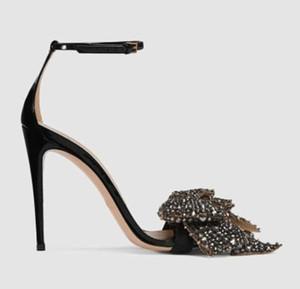 2017 moda feminina bowtie sandálias sexy sapatos de festa de salto fino tornozelo sandálias tira do dedo do pé aberto sapatos de salto alto senhoras glitter sapatos de strass