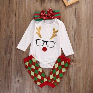 Nouveau-né Bébé Vêtements Enfant De Noël Pyjamas Toddler Barboteuses Costume Vêtements Ensemble À Manches Longues Chemise Legging Warmer Outfit Mignon Bandeau 0-18 M