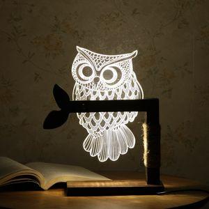 Casa 3D Forma de Coruja LEVOU Mesa de Luz Mesa Luz Noite Luz EUA Plug Interior e Iluminação
