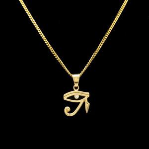 Collana Hip Hop Placcato oro Occhi di Horus Linea CZ Collana con ciondolo in cristallo Catena cubana Gioielli per uomo Donna