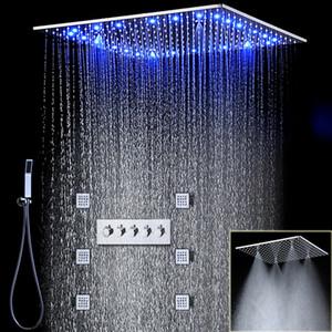 Modern Luxury Design Banho LED Shower Sistema Rain Shower Faucet Praça Cabeça de chuveiro fixado na parede Douche 20 polegadas
