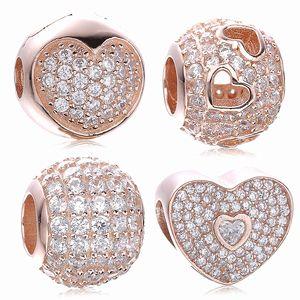Comercio al por mayor Original 925 Sterling Silver Bead Charm con Rose Gold Plated Clear Cubic Zircon Fit pulsera de Pandora de calidad superior