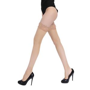 Medias calientes del verano de las mujeres altas del muslo sobre la rodilla Calcetines Medias atractivas del cordón de las medias de Bas Femme Medias blancas de Stay Up