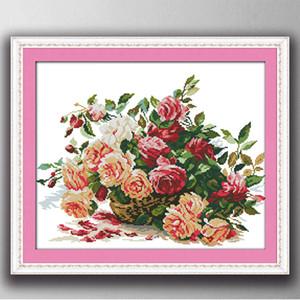 Красочные корзины из роз мультфильм декор картины, ручной работы вышивки крестом рукоделие наборы счетный печать на холсте DMC 14CT / 11CT