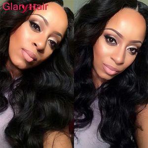 Glary 가장 인기있는 페루 헤어 위브 익스텐션 4pcs 저렴한 브라질 버진 헤어 번들 젖은 물결 모양의 바디 웨이브 Raw Human Hair Wefts 1B