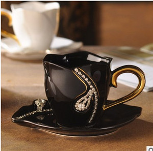 2017 hot sale Coffee cup set ceramic European coffee cup and saucer diamond lovers gift creative luxury