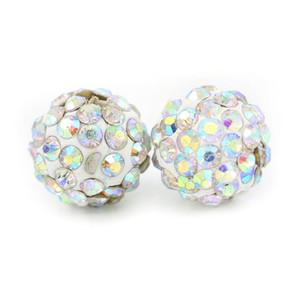 Shamballa Pave Disco Ball Clay Beads Half Drilled Polymer Clay 6 Rows Rhinestone Beads Round Charms Jewelry Making 100pcs bag
