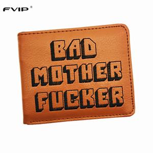 Vente en gros- FVIP Cool Brown bourse Bad Mother F * portefeuille avec porte-cartes portefeuilles pour hommes Bolsos Mujer populaire Dropshipping