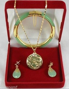 Jade vert Dragon Phoenix pendentifs collier ensemble de bracelet boucle d'oreille