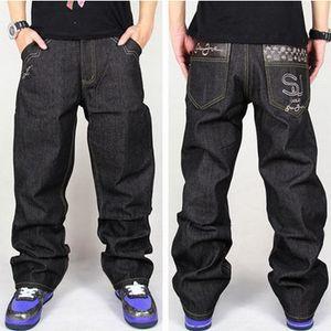 Al por mayor-Hot Men Baggy Jeans Big Size Mens Hip Hop Jeans Loose Fashion Skateboard Baggy jeans relajados para hombres Street Dance Harem Pants