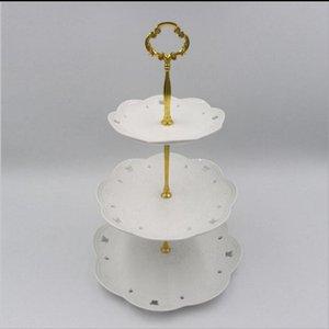 3Tier ZN Alloys Round Cupcake Stand Wedding Birthday Cake Stand Display Torre Herramientas de cocina (las placas NO están incluidas)