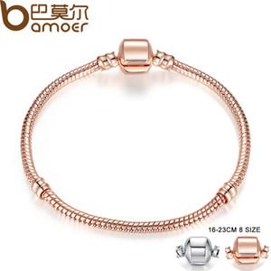 Pandora Style Rose Gold Couleur Argent Snake Chaîne Bracelets DIY Bracelet Bijoux 16cm-23cm 8 Choix de la taille