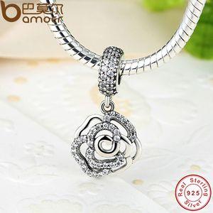 Pandora стиль 925-стерлингового серебра роза цветок очарование кулон Fit оригинальный браслет с Clear CZ 2017 Осенняя коллекция падение PAS086