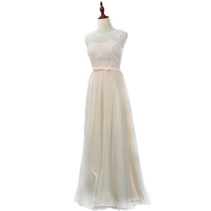 Scoop Neck Lace Tulle Bridesmaid Dress Champagne 2018 Long Wedding Guest Dress With Bow Elegant Formal Dress